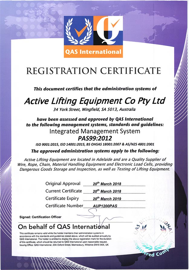 Specialised Wire Rope - Active Lifting Equipment