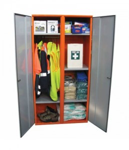 SPP1 PPE double door cabinet, includes hanging rail