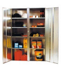 ST02 Galvanised lockable cabinet with 4 shelves