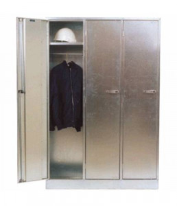 ST04 Galvanised lockable triple bank personal lockers with internal shelf & hanging rail